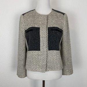 Ann Taylor 6 Flat Front Tweed Blazer Leather Trim